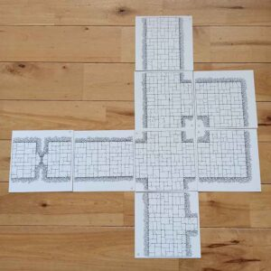 Hand Drawn OSR Dungeon Tiles (double sided) – Corridor Starter Pack (x8)